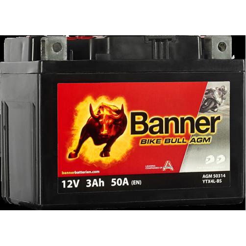 Baterie Moto Banner Bike Bull AGM 3 Ah (YTX4L-BS)