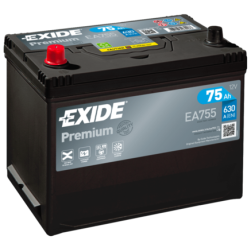 Baterie Auto Exide Premium 75 Ah cu borne inverse (EA755)