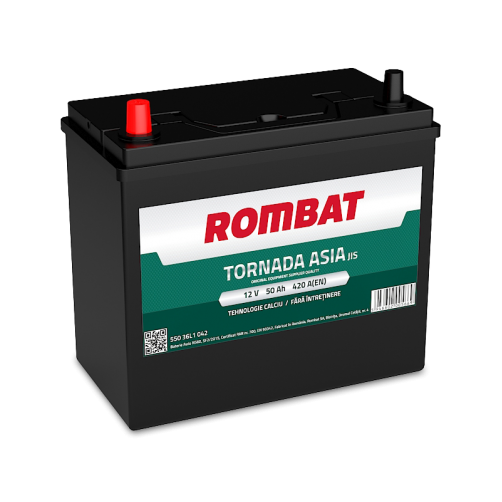 Baterie Auto Rombat Tornada ASIA 50 Ah cu borne inverse subtiri
