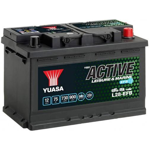 Baterie Hobby Yuasa YBX Active Leisure & Marine EFB 75 Ah (L28-EFB)